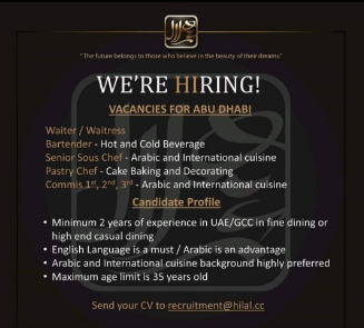 Jobs Vacancies for Waiter,Waitress, Bartender, Commis
