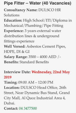 Walk In Interview - 40 Vacant Positions For Pipe Fitter in Dubai
